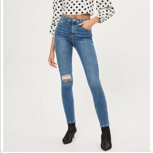 moto mid blue ripped jamie jeans
